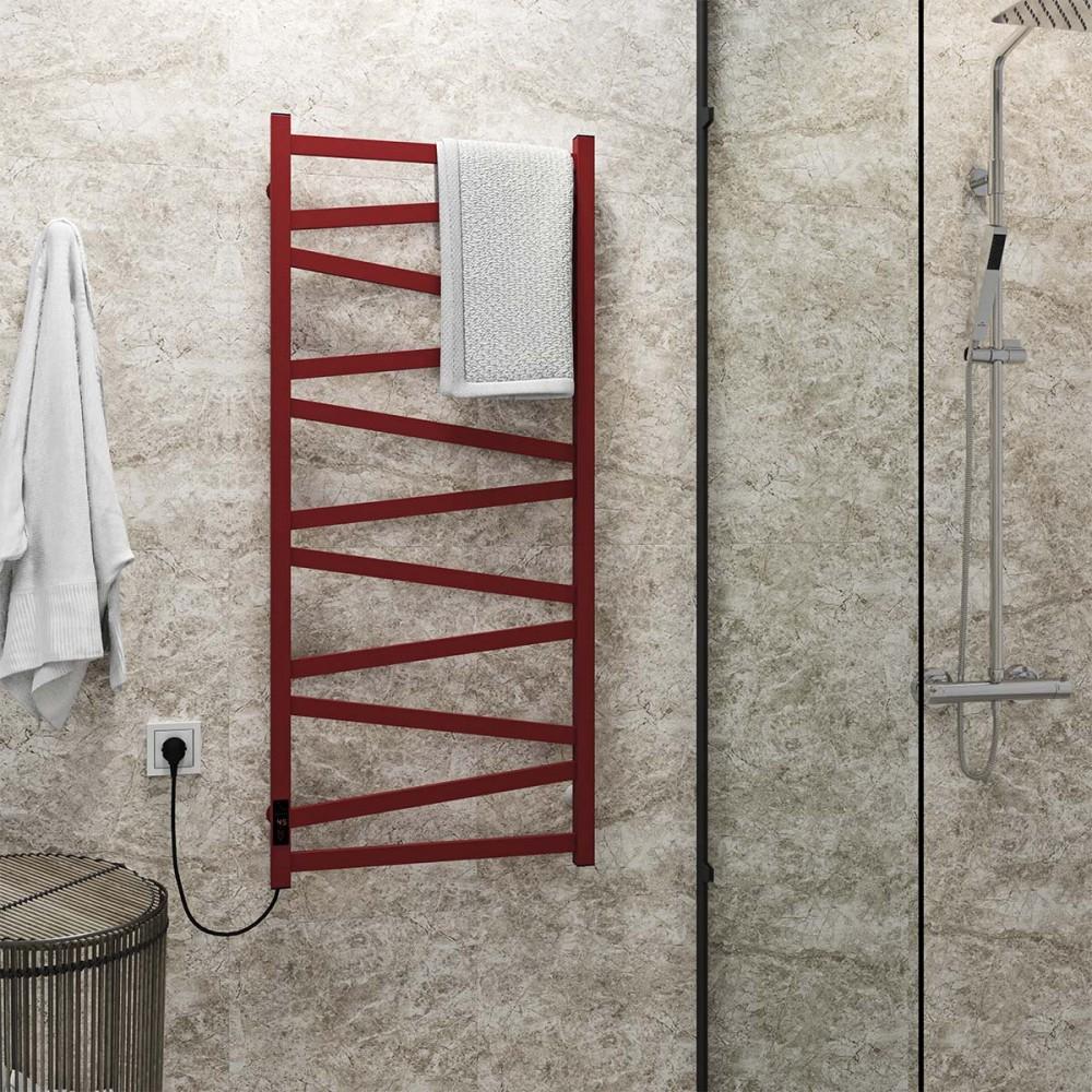 купить электрический полотенцесушитель Alpha П11 500х1200 Э левое подключение (красный)