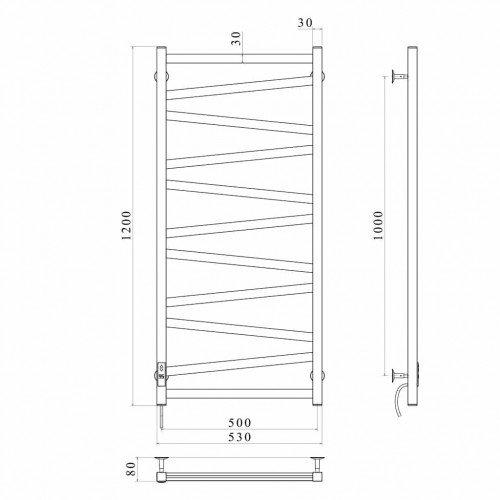 купить электрический полотенцесушитель Alpha П11 500х1200 Э правое подключение (черный)