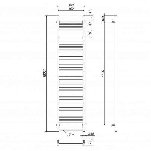 купить электрический полотенцесушитель Lima П30 400х1800 Э левое подключение