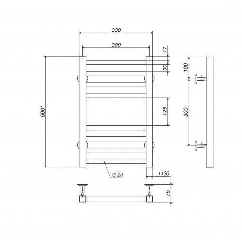 Рушникосушка електрична Lima П8 300х500 Е праве підключення