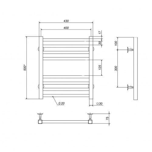 купить электрический полотенцесушитель Lima П8 400х500 Э левое подключение