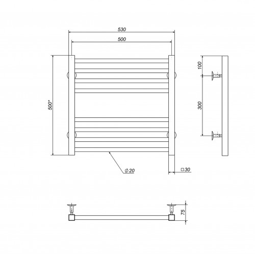 купить электрический полотенцесушитель Lima П8 500х500 Э левое подключение