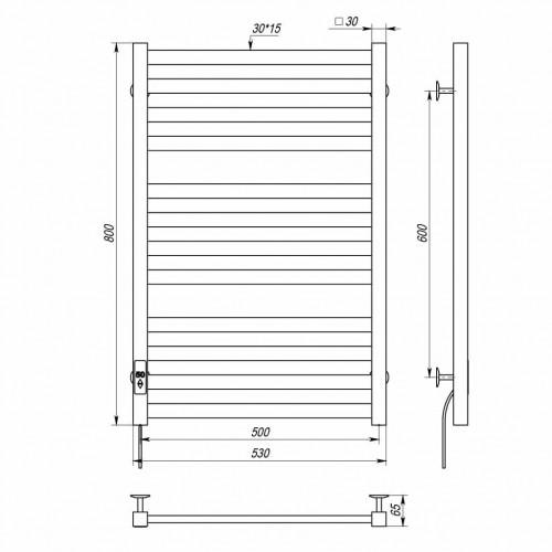 купить электрический полотенцесушитель Magnus П12 500х800 Э правое подключение (черный)
