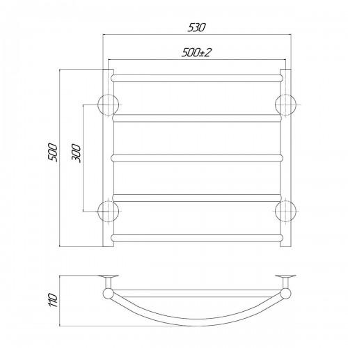 Рушникосушка електрична Мікс П5 500x500 Е праве підключення