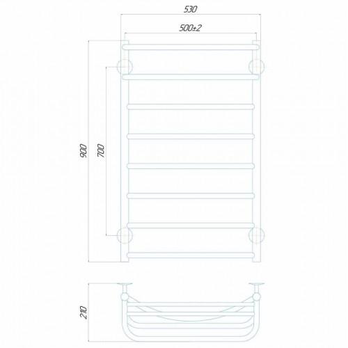 купить электрический полотенцесушитель Отель П8 500x900 Э правое подключение