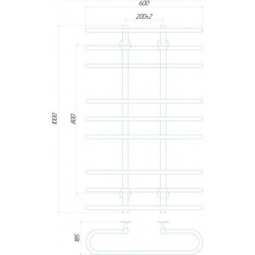 купить электрический полотенцесушитель Британика П9 600x1000 Э левое подключение