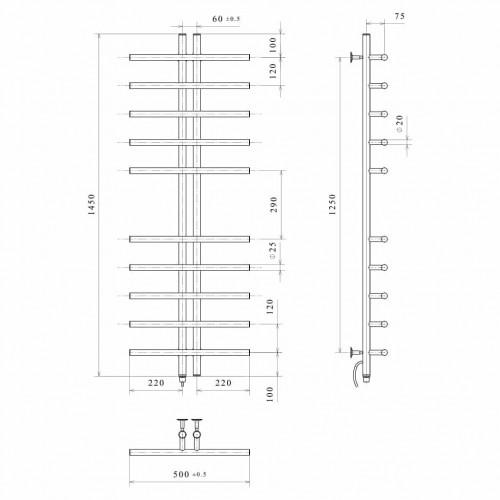 Рушникосушка електрична Gray П10 60х1450 Е ліве підключення