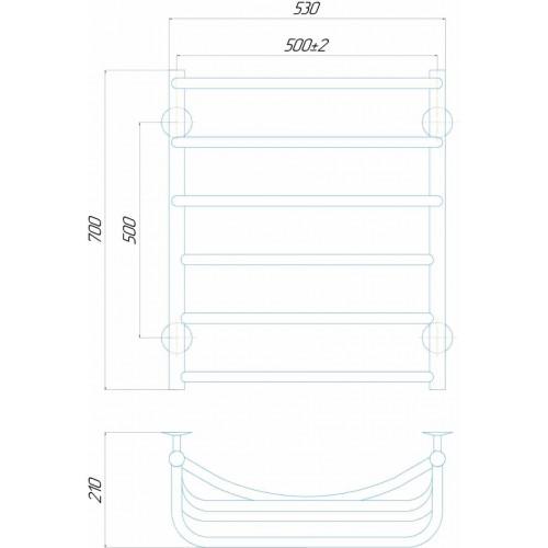 купить электрический полотенцесушитель Каскад П6 500x700 Э левое подключение