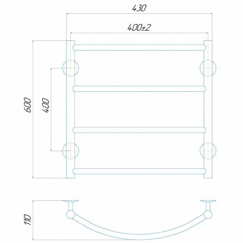 купить электрический полотенцесушитель Классик П4 400x600 Э левое подключение