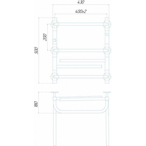 купить электрический полотенцесушитель Лего П7 400x500 Э левое подключение