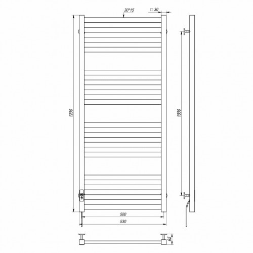 купить электрический полотенцесушитель Magnus П16 500х1200 Э левое подключение (белый)