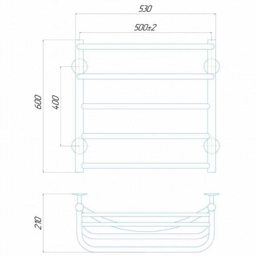 купить электрический полотенцесушитель Отель П5 500x600 Э левое подключение