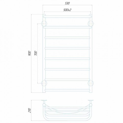 купить электрический полотенцесушитель Отель П8 500x900 Э левое подключение