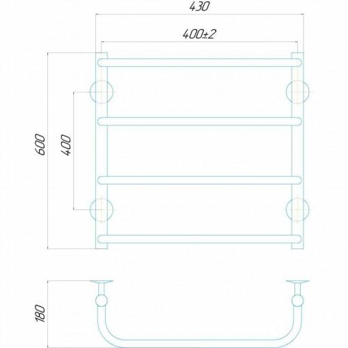купить электрический полотенцесушитель Стандарт П4 400x600 Э левое подключение