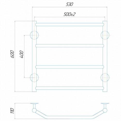 купить электрический полотенцесушитель Трапеция П6 500x600 Э левое подключение