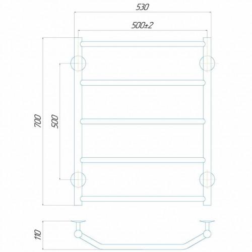 купить электрический полотенцесушитель Трапеция П7 500x700 Э левое подключение