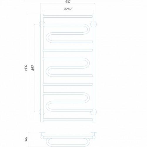 Рушникосушка електрична Віла 500x1000 Е ліве підключення