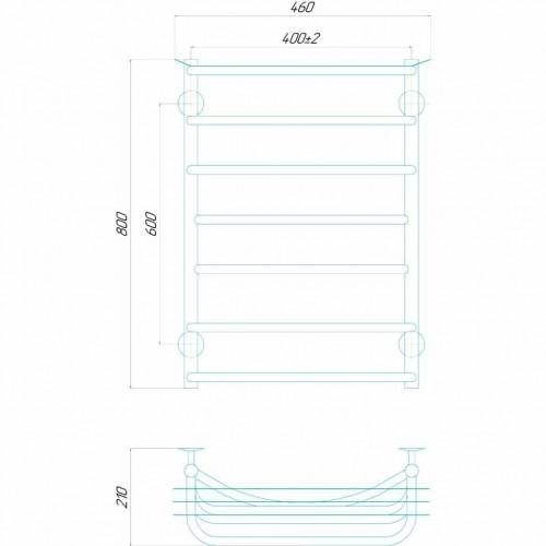 купить электрический полотенцесушитель Юность П7 400x800 Э левое подключение