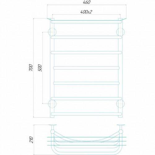 купить электрический полотенцесушитель Юность П7 400x700 Э левое подключение