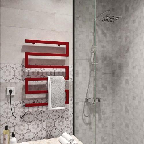 купить электрический полотенцесушитель Zeta 500х675 Э левое подключение (красный)