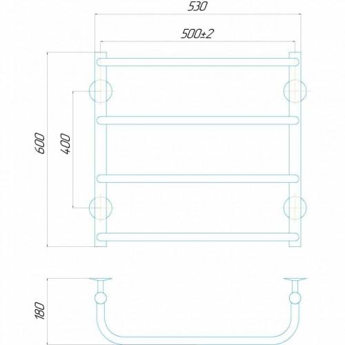Рушникосушка електрична Стандарт П4 500x600 Е праве підключення