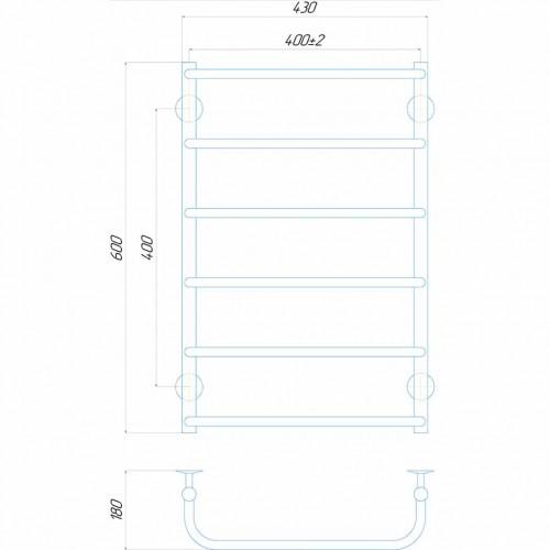 купить электрический полотенцесушитель Стандарт П6 400x600 ЧФ левое подключение (черный)