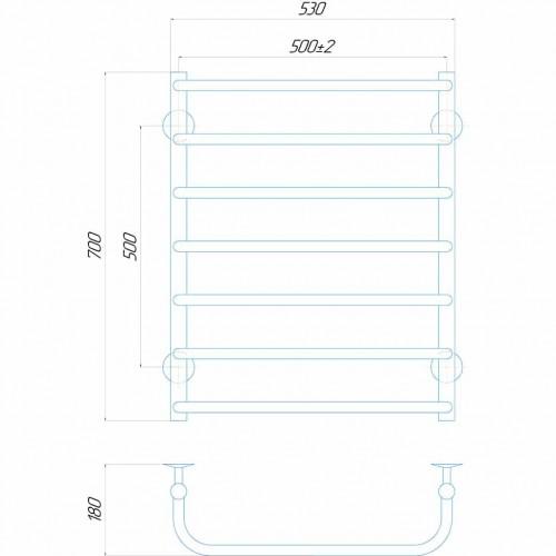 Рушникосушка електрична Стандарт П7 500x700 ЧФ праве підключення (чорний)