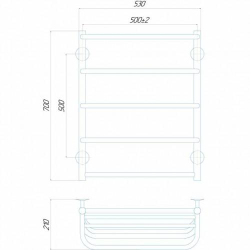 купить электрический полотенцесушитель Стандарт с полкой П5 500x700 ЧФ правое подключение (белый)