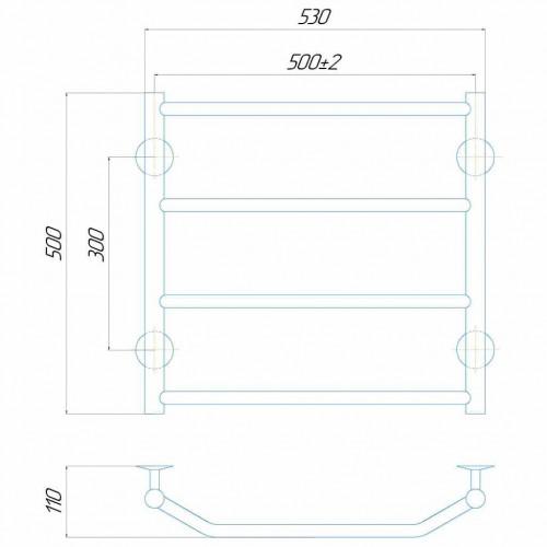 купить электрический полотенцесушитель Трапеция П5 500x500 Э правое подключение