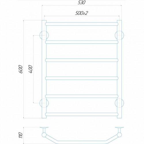 купить электрический полотенцесушитель Трапеция П6 500x600 ЧФ правое подключение (белый)