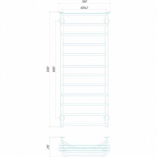 купить электрический полотенцесушитель Юность П12 500x1200 Э правое подключение