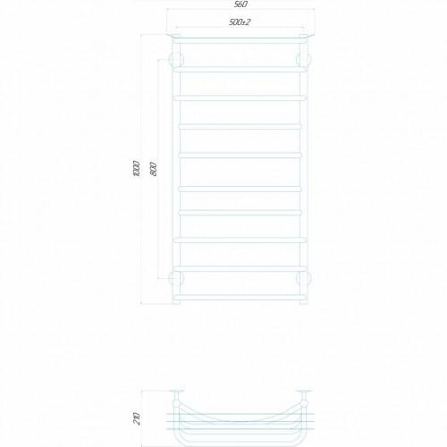 купить электрический полотенцесушитель Юность П10 500x1000 Э правое подключение