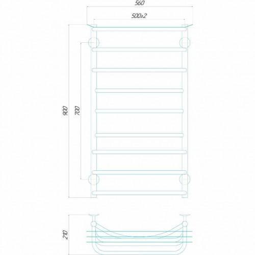 купить электрический полотенцесушитель Юность П9 500x900 Э правое подключение