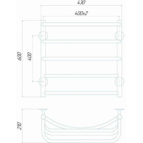 купить электрический полотенцесушитель Каскад П5 400x600 Э правое подключение