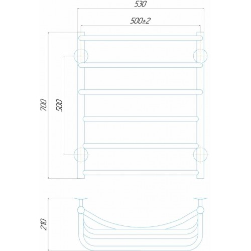 купить электрический полотенцесушитель Каскад П6 500x700 Э правое подключение
