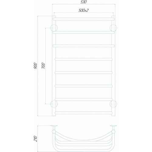 Рушникосушка електрична Каскад П8 500x900 Е праве підключення