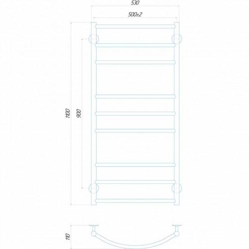 Рушникосушка електрична Класік Еліт П9 500x1100 ЧФ праве підключення (білий)