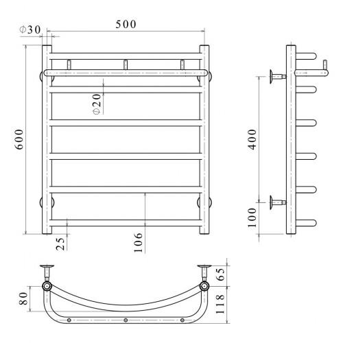 Рушникосушка електрична Класік N П6 500х600 Е ліве підключення
