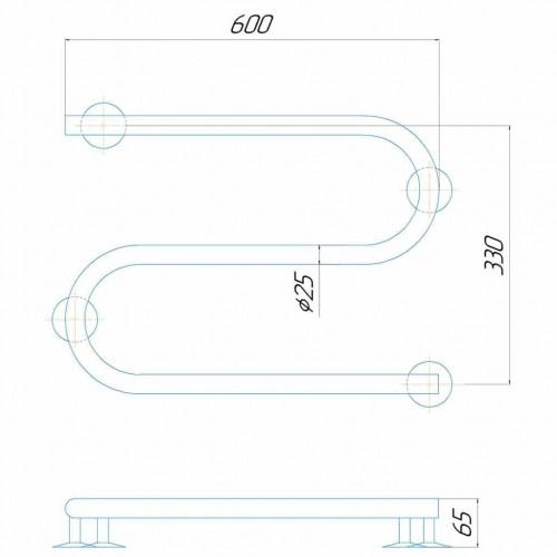 купить электрический полотенцесушитель Змейка 600/330 Э правое подключение