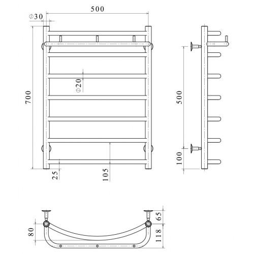 Рушникосушка електрична Класік N П7 500х700 Е ліве підключення
