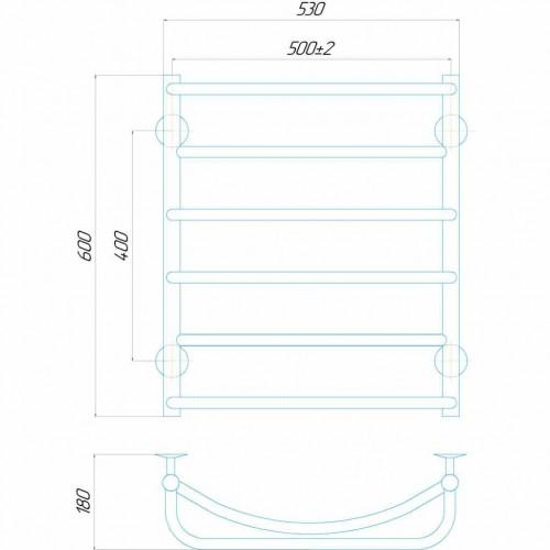 Рушникосушка електрична Аквамікс П6 500x600 ЧФ праве підключення (чорний)