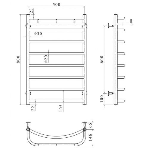 Рушникосушка електрична Класік N П8 500х800 Е ліве підключення