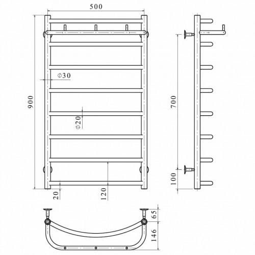 купить электрический полотенцесушитель Классик N П8 500х900 Э правое подключение
