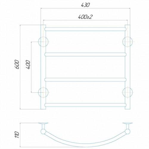купить электрический полотенцесушитель Классик П4 400x600 Э правое подключение