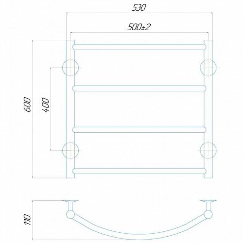 Рушникосушка електрична Класік П6 500x600 Е праве підключення