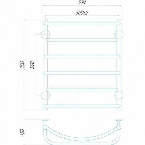 купить электрический полотенцесушитель Аквамикс П6 500x700 Э правое подключение