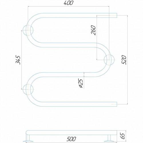 Рушникосушка електрична Змійка 500/500 ЧФ ліве підключення