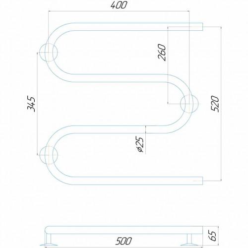 Рушникосушка електрична Змійка 500/500 ЧФ праве підключення