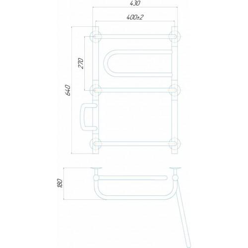 Рушникосушка електрична Лагуна П5 400x640 Е праве підключення