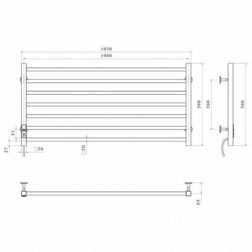 Рушникосушка електрична Level П7 1000х500 Е праве підключення (білий)